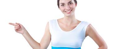 Portret van een glimlachende jonge vrouw die benadrukken Stock Afbeelding
