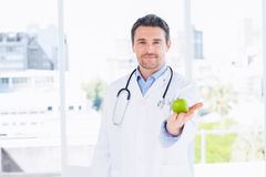 Portret van een glimlachende mannelijke arts die een appel houden Stock Afbeelding
