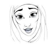 Portret van een glimlachende vrouw in de oosterse sjaal stock illustratie