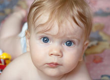 Portret van een halfjaarlijks babymeisje Stock Foto's