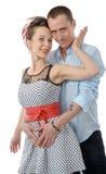 Portret van een houdend van paar, op wit Royalty-vrije Stock Foto's