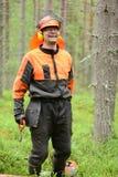 Portret van een houtvester in het bos Stock Afbeelding