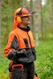 Portret van een houtvester in het bos Stock Foto