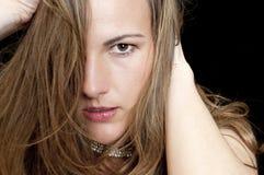 Portret van een Humeurige Vrouw Royalty-vrije Stock Fotografie