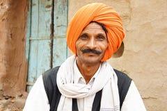 Portret van een Indische mens met tulband. Stock Fotografie