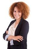 Portret van een jonge Afrikaanse Amerikaanse bedrijfsvrouw - Zwarte peop Royalty-vrije Stock Afbeelding