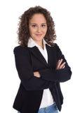 Portret van een jonge bedrijfsvrouw voor een kandidatuur of een baan appl stock afbeeldingen