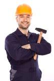 Portret van een jonge bouwer met de hulpmiddelen Stock Afbeeldingen