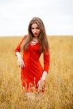 Portret van een jonge donkerbruine vrouw in rode kleding Stock Foto's