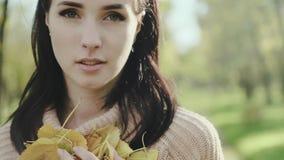 Portret van een jonge en mooie vrouw Brunette Meisje in een sweater en de herfstbladeren in haar handen Langzame Motie stock videobeelden