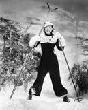 Portret van een jonge en vrouw ski?en die (Alle afgeschilderde personen langer glimlachen leven niet en geen landgoed bestaat Lev royalty-vrije stock afbeeldingen
