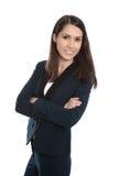 Portret van een jonge glimlachende bedrijfsvrouw die op wit wordt geïsoleerd Royalty-vrije Stock Foto's