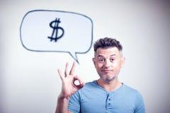 Portret van een jonge mens met een de dollarteken van de toespraakbel Royalty-vrije Stock Afbeeldingen