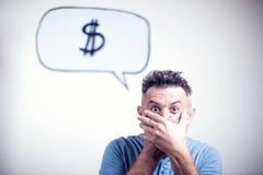 Portret van een jonge mens met een de dollarteken van de toespraakbel Stock Fotografie