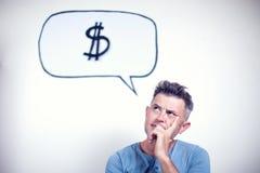 Portret van een jonge mens met een de dollarteken van de toespraakbel Royalty-vrije Stock Afbeelding