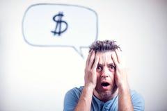 Portret van een jonge mens met een de dollarteken van de toespraakbel Royalty-vrije Stock Fotografie