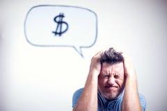 Portret van een jonge mens met een de dollarteken van de toespraakbel Stock Foto
