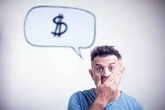 Portret van een jonge mens met een de dollarteken van de toespraakbel Royalty-vrije Stock Foto