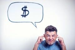 Portret van een jonge mens met een de dollarteken van de toespraakbel Royalty-vrije Stock Foto's