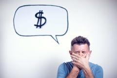 Portret van een jonge mens met een de dollarteken van de toespraakbel over h Royalty-vrije Stock Afbeeldingen