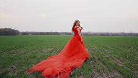 Portret van een jonge mooie vrouw in een rode kleding tegen een aardachtergrond stock videobeelden