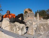 Portret van een jonge toerist in Athene, Griekenland Royalty-vrije Stock Foto's