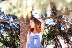 Portret van een jonge vrouw die op de achtergrondsparren stelt Stock Afbeelding