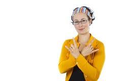 Portret van een jonge vrouw in geel Stock Fotografie