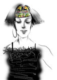 Portret van een jonge vrouw met grijs haar en het dragen van een zwarte kleding Royalty-vrije Stock Afbeeldingen