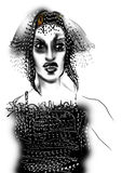 Portret van een jonge vrouw met grijs haar en het dragen van een zwarte kleding Stock Afbeeldingen