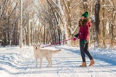 Portret van een jonge vrouw met hond op de wintergang Stock Foto