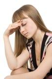 Portret van een jonge vrouwen droevige uitdrukking Royalty-vrije Stock Foto