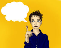 Portret van een jongen met een goed idee Kind op een witte achtergrond stock illustratie