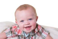 Portret van een jongen van de 6 maand oude baby op wit Royalty-vrije Stock Fotografie
