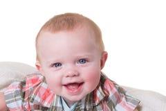 Portret van een jongen van de 6 maand oude baby op wit Stock Foto's
