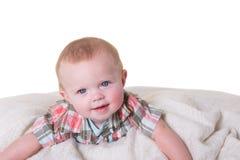 Portret van een jongen van de 6 maand oude baby op wit Royalty-vrije Stock Foto's