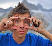 Portret van een kerel met de ogen Stock Afbeeldingen