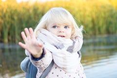 Portret van een klein meisje met blauwe ogen en helder haar royalty-vrije stock afbeeldingen