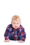 Portret van een kleine jongen op witte achtergrond Stock Fotografie