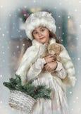 Portret van een kleine meisjeswijnoogst Stock Afbeelding