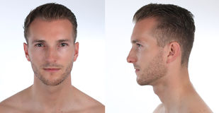 Portret van een knap mens, een profiel en een gezicht Verwezenlijking van een virtueel 3D karakter of avatar stock afbeeldingen