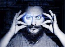 Portret van een knappe jongen Abstract oog met digitale cirkel Futuristisch van de visiewetenschap en identificatie concept Stock Fotografie