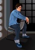 Portret van een knappe jongenszitting op een stoel royalty-vrije illustratie