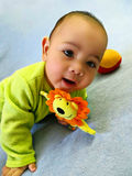Portret van een lachende babyjongen met een rammelaar Stock Foto