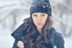 Portret van een leuk brunette in een ijzig park Stock Afbeeldingen