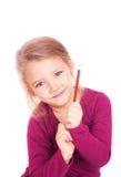 Portret van een leuk meisje met in hand potlood Stock Foto