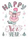 Portret van een leuk varken in liefde gekleed in een hoed royalty-vrije stock afbeelding