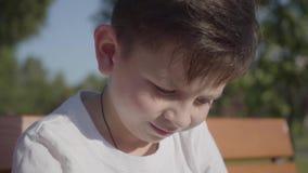 Portret van een leuke glimlachende jongen in openlucht Het aanbiddelijke kind brengt tijd in het de zomerpark door stock footage