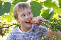 Portret van een leuke jongen, eet hij wortelen Stock Afbeeldingen
