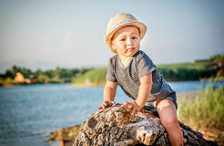 Portret van een leuke kleine jongen met de zitting van de de zomerhoed op tre stock foto